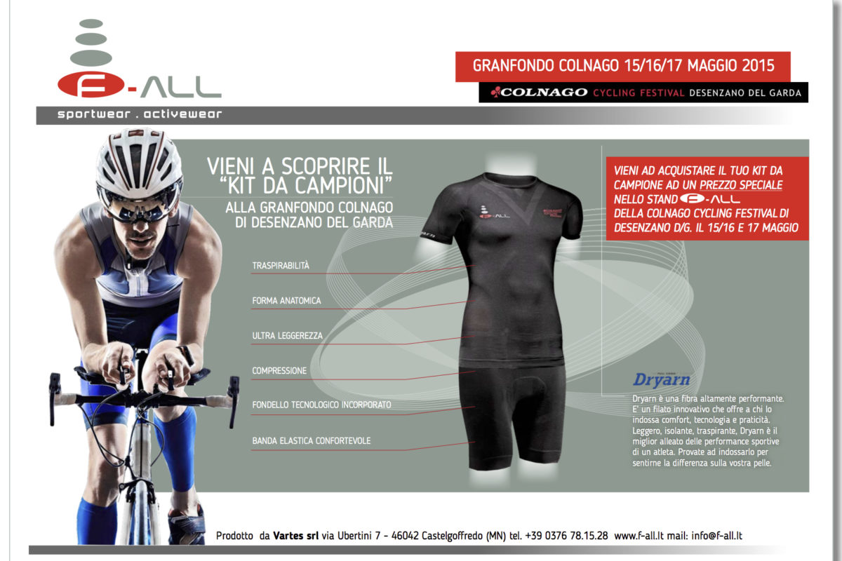 A dream race pack for Colnago Granfondo thanks to F-ALL